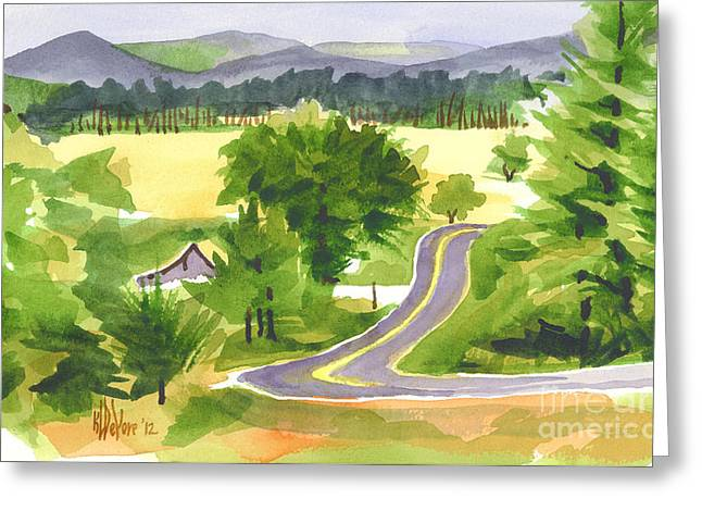 Knob Greeting Cards - That Ribbon of Highway out JJ Greeting Card by Kip DeVore