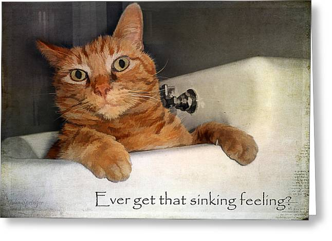 Kim Klassen Texture Greeting Cards - That sinking feeling Greeting Card by Julia Springer