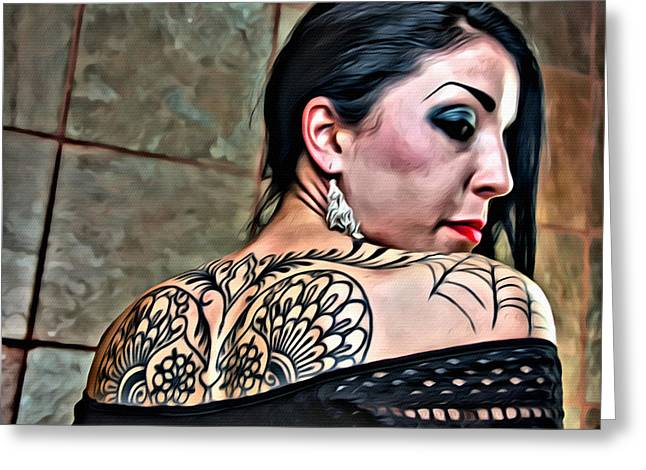 Tattoed Greeting Cards - That Tattoo Greeting Card by Alice Gipson