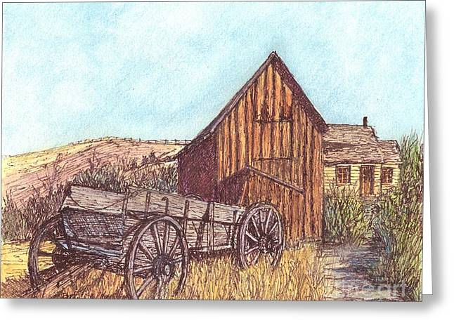 Wagon Wheels Mixed Media Greeting Cards - That Which Once Was Greeting Card by Carol Wisniewski