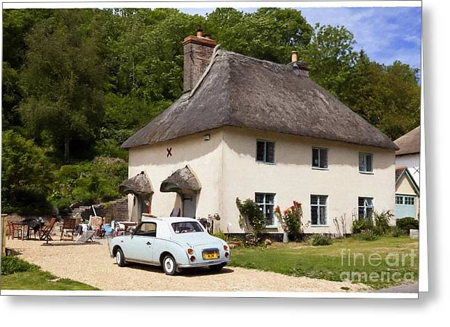 Charming Cottage Digital Art Greeting Cards - Thatched cottage and vintage car Milton Abbas Dorset England UK Greeting Card by Jon Boyes