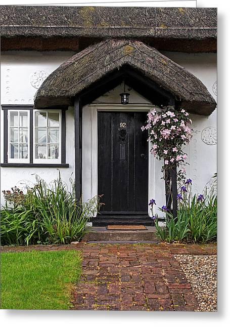 Entryway Greeting Cards - Thatched Cottage Welcome Greeting Card by Gill Billington
