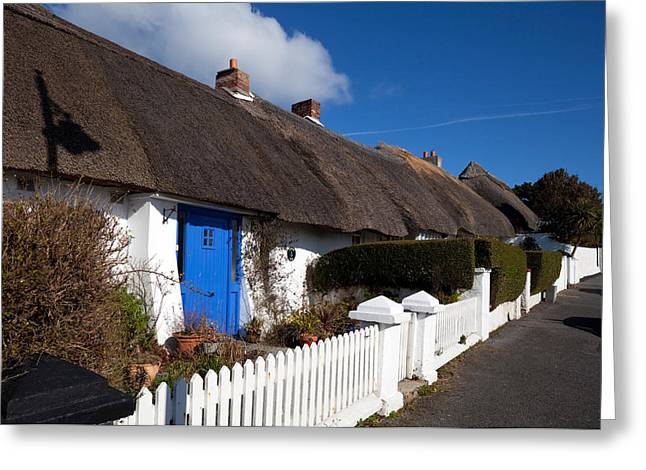 Thatched Cottages Near Dunmore Strand Greeting Card by Panoramic Images
