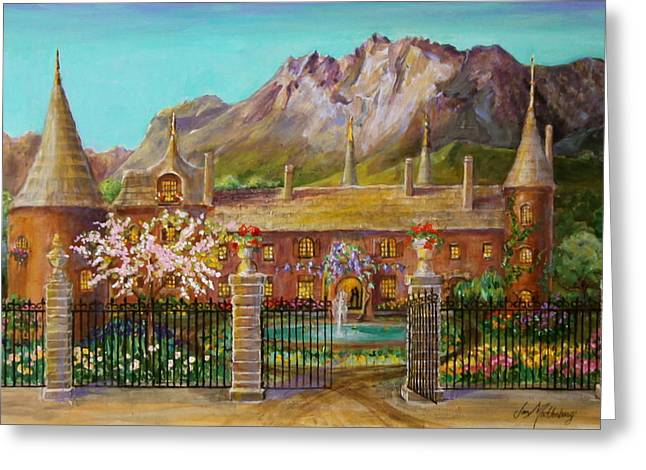 Flowers On A Fence Greeting Cards - Thatched Roof Castle Greeting Card by Jan Mecklenburg