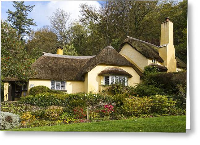 Selworthy Greeting Cards - Thatched roof cottage in Selworthy  Greeting Card by Chris Smith