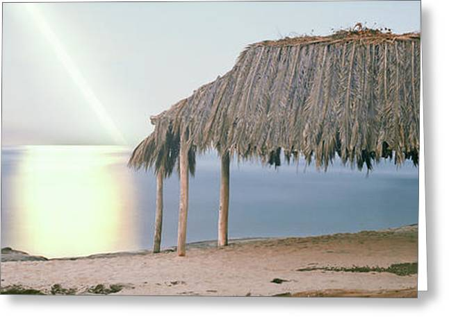 Thatched Roof On The Beach, Windansea Greeting Card by Panoramic Images
