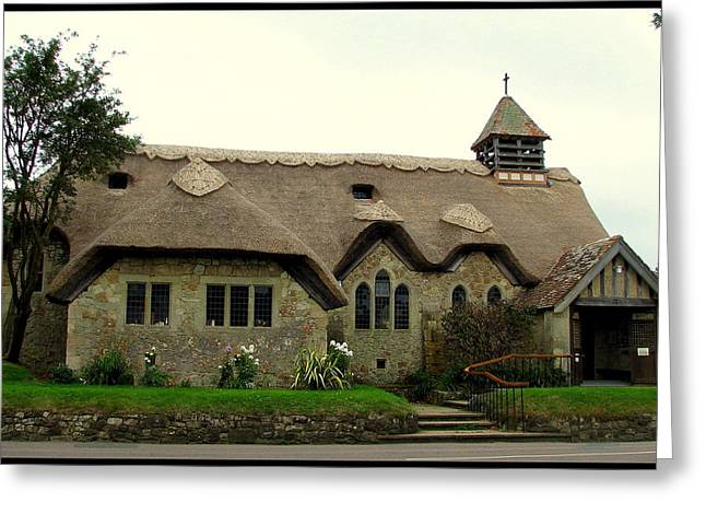 Carla Parris Greeting Cards - Thatched St. Agnes Church in Freshwater Isle of Wight with border Greeting Card by Carla Parris