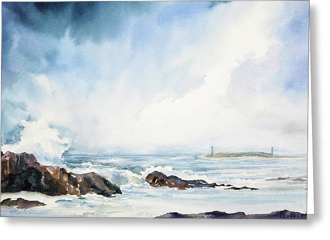 Bluegreen Greeting Cards - Thatcher Island Lights Rockport Massachusetts Watercolor Painting Greeting Card by Michelle Wiarda