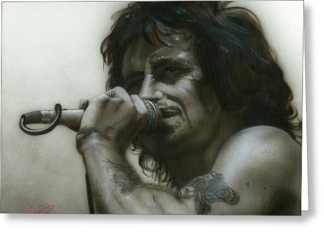 Bon Scott Greeting Cards - Thats How it Goes Playing in a Band Greeting Card by Christian Chapman Art