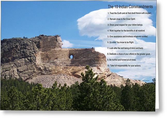 The 10 Indian Commandments Greeting Card by Thomas Woolworth