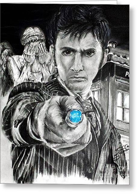 Weeping Drawings Greeting Cards - The 10th Doctor Greeting Card by S G Williams