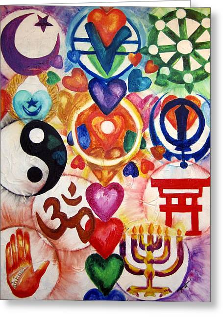 Unity Consciousness Greeting Cards - The 12 World Religions Greeting Card by Sister Rebecca Shinas