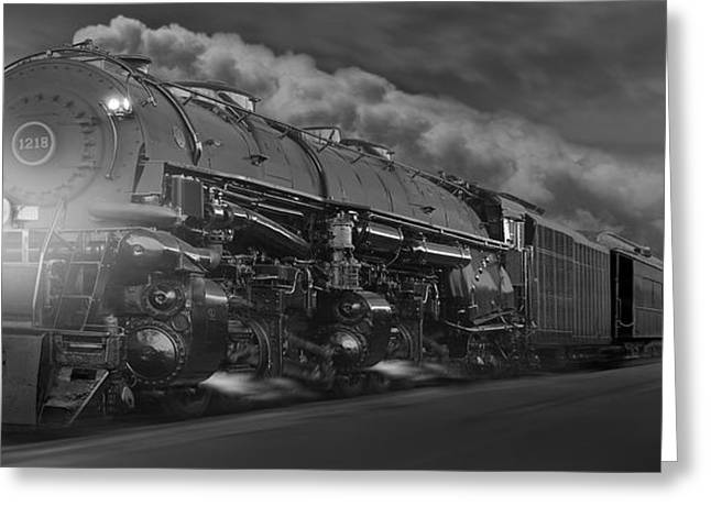 Locomotive Greeting Cards - The 1218 On the Move - Panoramic Greeting Card by Mike McGlothlen