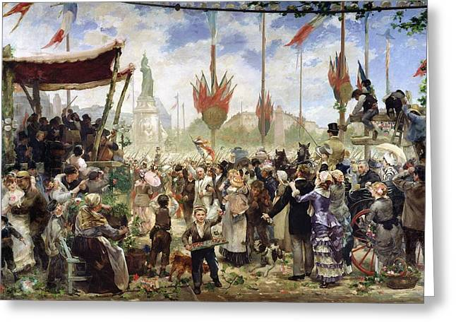 Bastille Photographs Greeting Cards - The 14th July 1880, 1882 Oil On Canvas Greeting Card by Alfred Roll