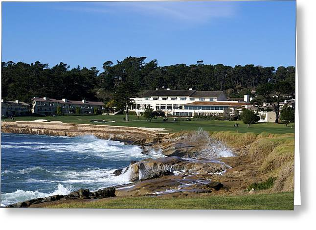 Crashing Greeting Cards - The 18th At Pebble Beach Greeting Card by Barbara Snyder