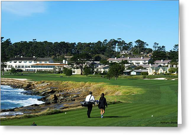 Clubhouse Greeting Cards - Walking Up The 18th At Pebble Beach Greeting Card by Photograph