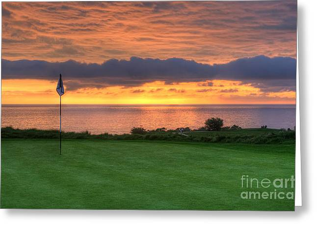 Putt Greeting Cards - The 18th Green Greeting Card by Eddie Yerkish