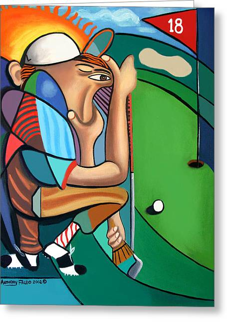 Cubism Greeting Cards - The 18TH Hole Greeting Card by Anthony Falbo