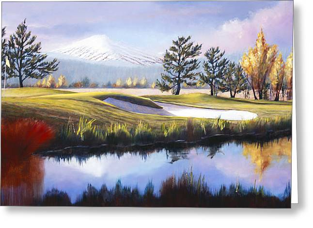 Pat Cross Greeting Cards - The 18th Hole Sunriver Meadows Golf Course Greeting Card by Pat Cross