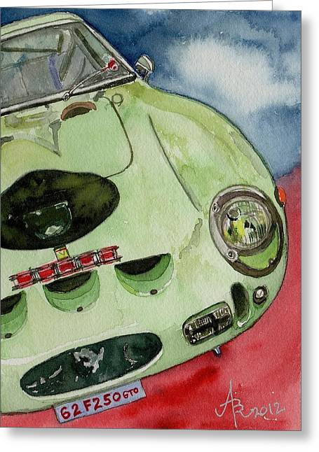 Stirling Moss Greeting Cards - The 1962 Ferrari 250 GTO was built for Sir Stirling Moss Greeting Card by Anna Ruzsan