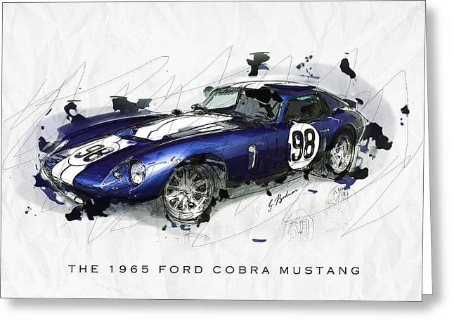 Cobra Art Greeting Cards - The 1965 Ford Cobra Mustang Greeting Card by Gary Bodnar