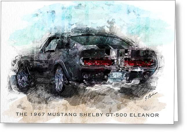 Fast Cars Greeting Cards - The 1967 Shelby GT-500 Eleanor Greeting Card by Gary Bodnar