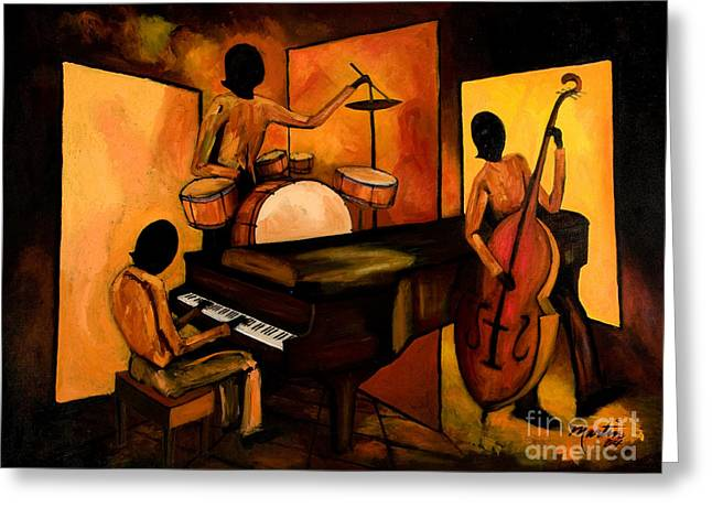 Piano Greeting Cards - The 1st Jazz Trio Greeting Card by Larry Martin