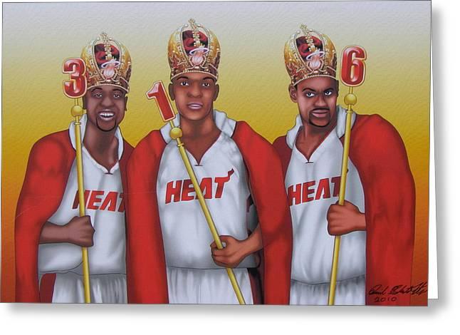 Dwyane Wade Art Greeting Cards - The 3 NBA Kings Greeting Card by David Pedemonte