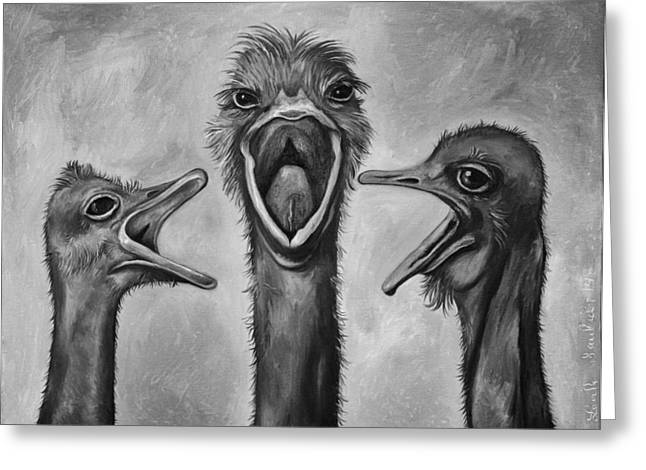 Emu Greeting Cards - The 3 Tenors bw Greeting Card by Leah Saulnier The Painting Maniac