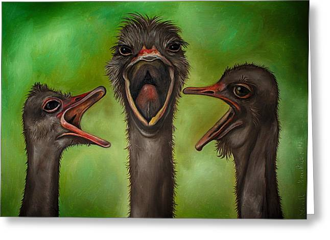 Emu Greeting Cards - The 3 Tenors edit 2 Greeting Card by Leah Saulnier The Painting Maniac