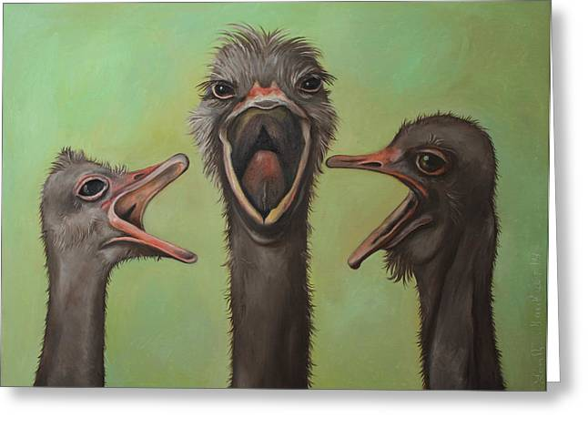 Emu Greeting Cards - The 3 Tenors Greeting Card by Leah Saulnier The Painting Maniac