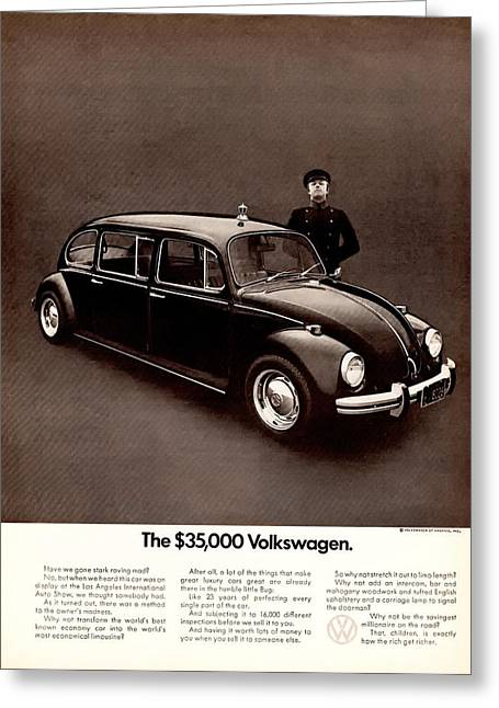 Limo Greeting Cards - The 35000 Volkswagen Greeting Card by Nomad Art And  Design