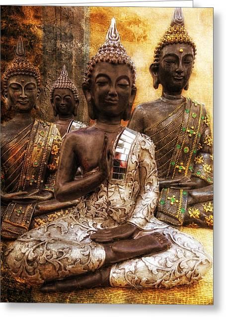Figurs Greeting Cards - the 4 Buddhas Greeting Card by Joachim G Pinkawa