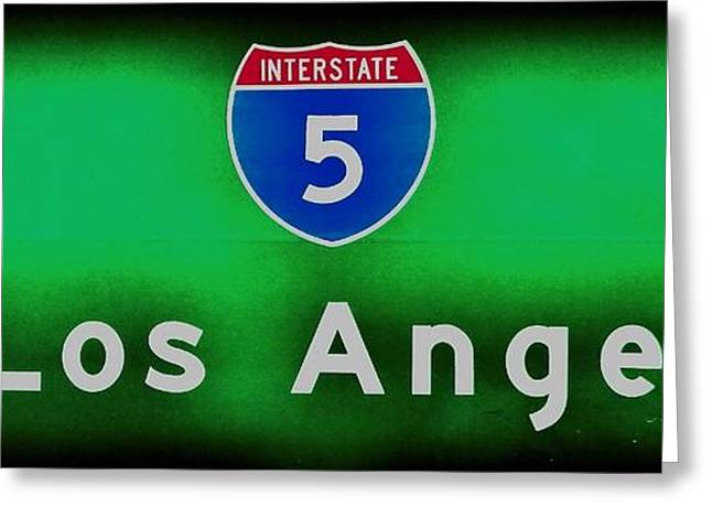 Los Angeles Freeways Greeting Cards - The 5 Greeting Card by Benjamin Yeager