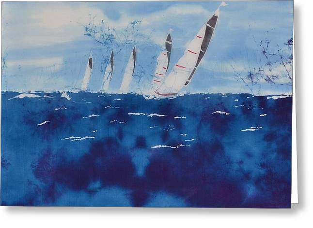 Sailing Boat Tapestries - Textiles Greeting Cards - The 5 Js Greeting Card by Kate Ford