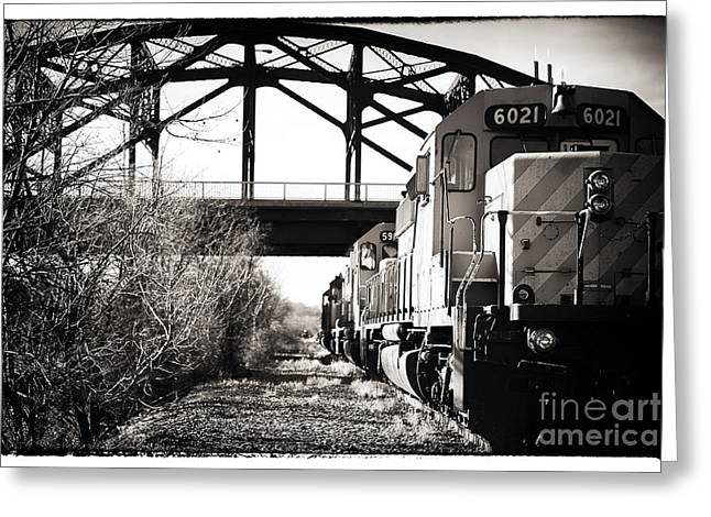 Black And White Train Track Prints Greeting Cards - The 6021 Greeting Card by John Rizzuto