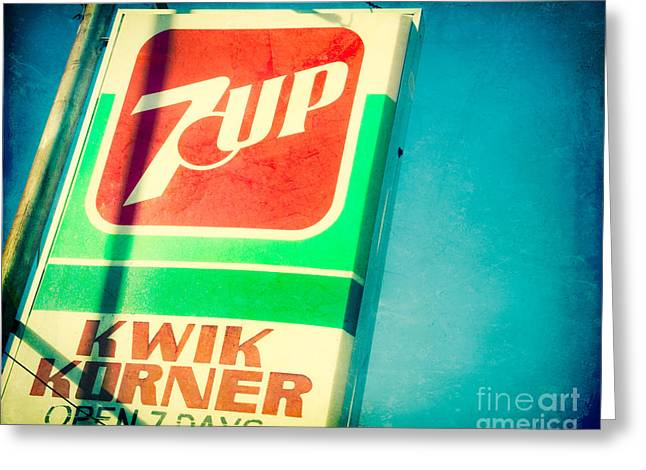 7up Sign Greeting Cards - The 7up Korner Store Greeting Card by Sonja Quintero