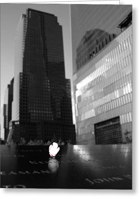 Bravery Greeting Cards - The 911 Memorial In Black And White Greeting Card by Dan Sproul