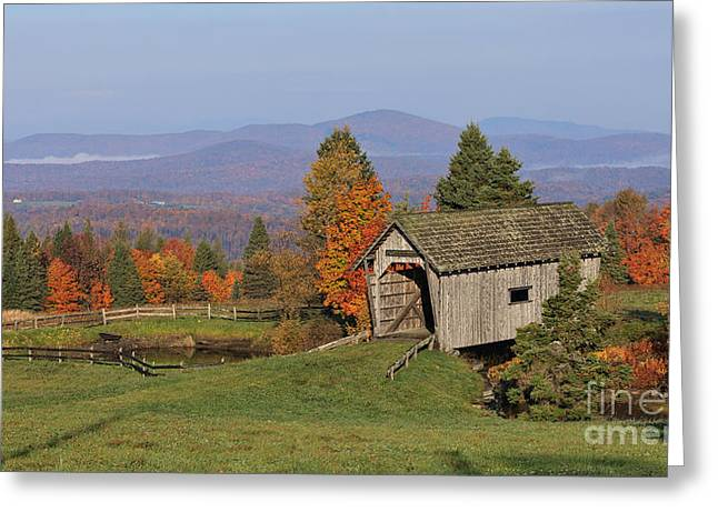 Covered Bridge Greeting Cards - The A M Foster Covered Bridge Greeting Card by Charles Kozierok