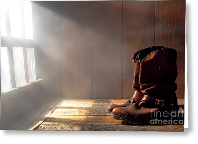 Wood Floors Greeting Cards - The Abandoned Boots  Greeting Card by Olivier Le Queinec