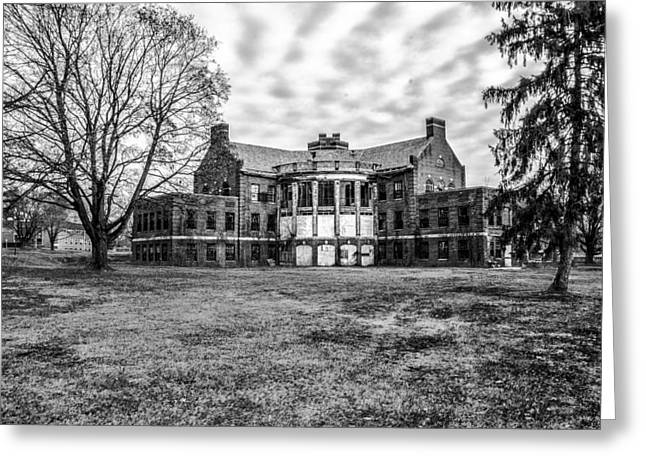 State Hospital Greeting Cards - The Abandoned Building 17  - Norristown State Hospital in Black  Greeting Card by Bill Cannon