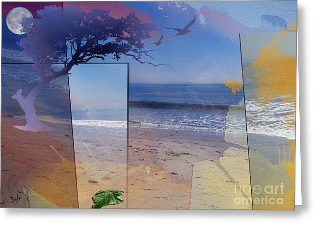 Flying Seagull Greeting Cards - The Abstract Beach Greeting Card by Bedros Awak
