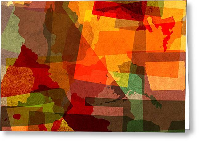 The Abstract States of America Greeting Card by Design Turnpike