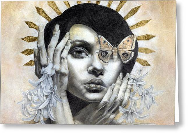 Figurative Mixed Media Greeting Cards - The Abyss Gazes Back Greeting Card by Patricia Ariel
