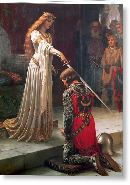 Royalty Greeting Cards - The Accolade Greeting Card by Edmund Leighton