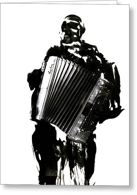 Playing Musical Instruments Mixed Media Greeting Cards - The Accordionist 2 Greeting Card by Ok More Photos