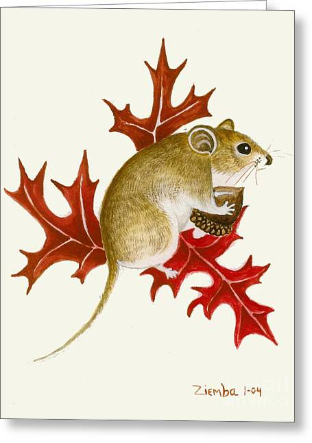 Lori Ziemba Greeting Cards - The Acorn Mouse Greeting Card by Lori Ziemba