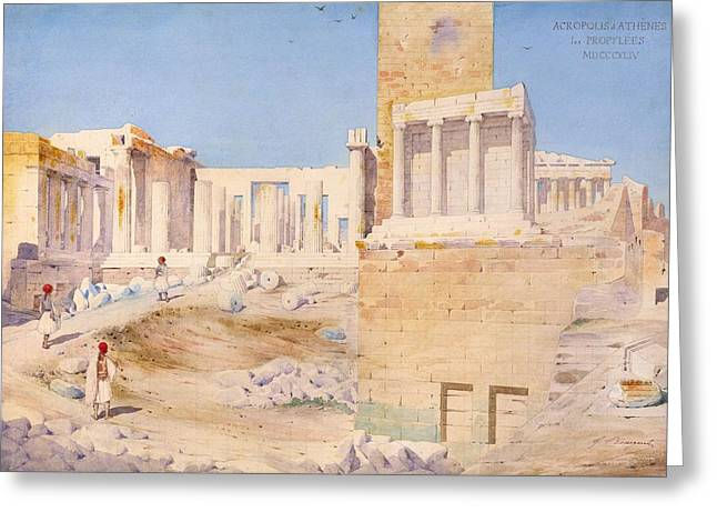 Athens Ruins Greeting Cards - The Acropolis At Athens, 1844 Wc On Paper Greeting Card by Gustave Bougerel