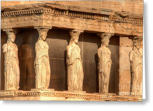 Nike Photographs Greeting Cards - The Acropolis Caryatids Greeting Card by Deborah Smolinske