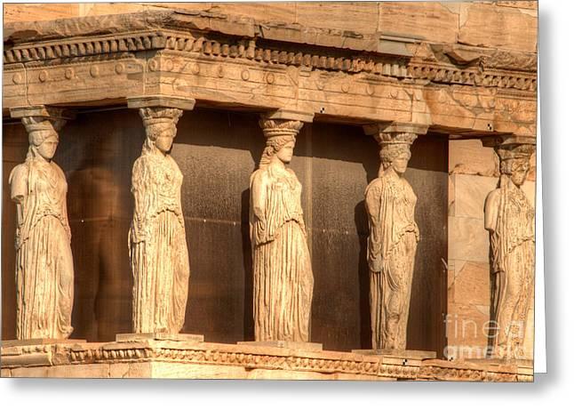 The Acropolis Caryatids Greeting Card by Deborah Smolinske
